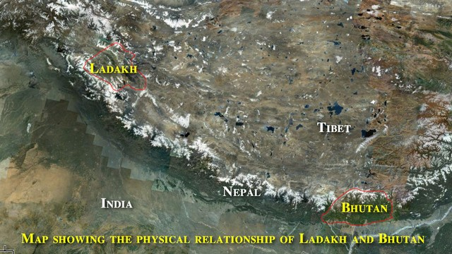 Bhutan and Ladakh Map