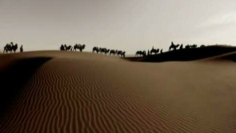 Camel Caravan crossing the Desert